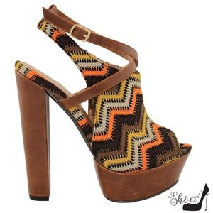 Joy Orange & Brown Chevron Peep Toe 70s Heels